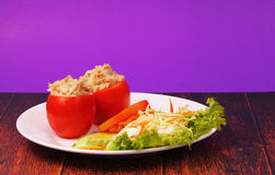 Tuna in tomatoe salad Stock Photos