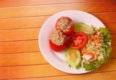 Tuna in tomatoe salad Royalty Free Stock Photos