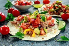Tuna Tortilla with avocado, fresh salsa, limes, greens, parsley, tomatoes, red yellow pepper. colorful vegetable Royalty Free Stock Image