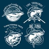 Tuna Vector Logos Logos de club de pêche sportive Photos stock