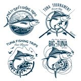 Tuna Vector Logos. Sport Fishing Club Logos. Fishing labels, badges, emblems and design elements. Illustrations of Tuna Stock Photo