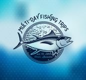 Fishing labels, badges, emblems and design elements. Illustrations of Tuna Royalty Free Stock Photography