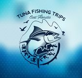 Fishing labels, badges, emblems and design elements. Illustrations of Tuna Royalty Free Stock Photo