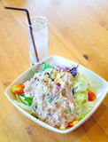 Tuna and vegetable salad with cool drinking water. Royalty Free Stock Photography