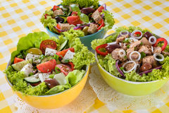 Tuna, Vitaminic green and Greek salad with feta Royalty Free Stock Photos