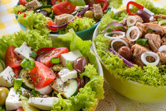 Tuna, Vitaminic green and Greek salad with feta Stock Image