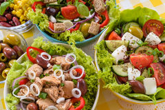 Tuna, Vitaminic green and Greek salad with feta Stock Images