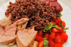 Tuna Wild Rice Tomatoes and Basil Stock Images