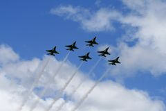 Tunderbird 12. Thunderbird formation fly at air show in Quebec royalty free stock image