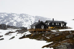 Tundra. Houses in the tundra, Norway Stock Images