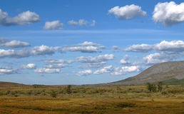 Tundra. Blue sky and mountains Royalty Free Stock Image
