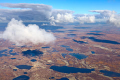 Tundra in autumn, top view Royalty Free Stock Images