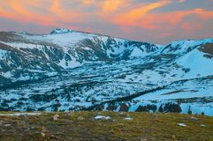 Tundra Glaciers, Rocky Mountains. Rocky Mountain glaciers in dusk light, captured from the tundra of Rocky Mountain National Park, Colorado Royalty Free Stock Images
