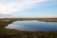 Tundra lake at arctic Island Chukotka stock photos