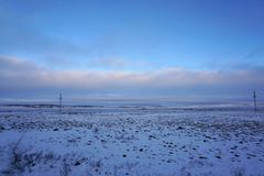 Tundra lanscape cover with snow in early Winter on the way from Stock Photography