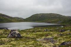 tundra Liggande med en sten i vattnet norr russia för öladoogalake valaam Arkivbilder