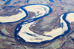 Tundra river in autumn, top view Royalty Free Stock Image