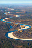Tundra river in autumn, top view Royalty Free Stock Photography