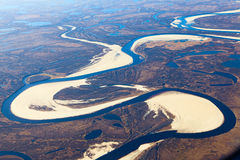 Tundra river in autumn, top view Stock Images