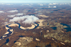 Tundra river in autumn, top view Stock Photo