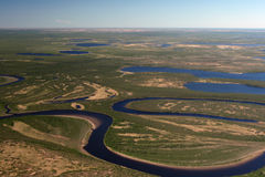 Tundra, rivers and lakes of Taimyr in the spring Stock Images