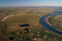 Tundra Taimyr με τις λίμνες και ποταμοί με το ελικόπτερο στοκ εικόνα με δικαίωμα ελεύθερης χρήσης