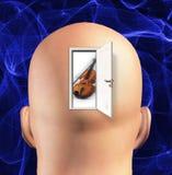 Tune. Door to mind reveals violin Royalty Free Stock Image