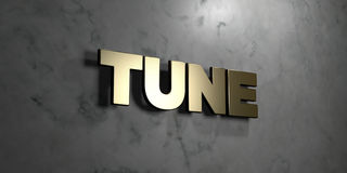 Tune - Gold sign mounted on glossy marble wall  - 3D rendered royalty free stock illustration. This image can be used for an online website banner ad or a Royalty Free Stock Photos