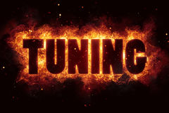 Tune tuning fire burn flame text is explode. Explosion Royalty Free Stock Photo