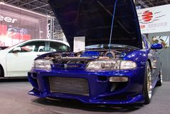 Tuned blue Nissan 200SX S14 Royalty Free Stock Photo