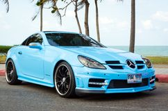 Tuned car benz kompressor. SONGKHLA, THAILAND - March 09 : Tuned car benz kompressor in Songkhla Car Club Show 2014 at Samila beach on March 09,2014 in Songkhla Stock Image