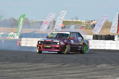 Tuned car drifting. Drift show at the airport, Tököl, Hungary. Photo taken to: April 12th, 2015 Royalty Free Stock Photo