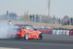 Tuned car drifting. Drift show at the airport, Tököl, Hungary. Photo taken to: April 12th, 2015 Royalty Free Stock Photography
