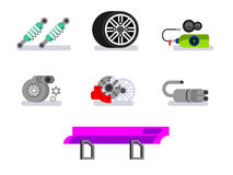 Tuned machine nitrous oxide. Car parts. Automotive, motor and vehicle, flat vector icons Stock Images