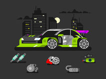 Tuned machine nitrous oxide. Diagnostic engine car, transportation automotive, motor and vehicle, flat vector illustration Royalty Free Stock Images