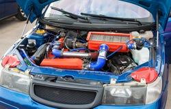 Tuned turbo car engine of Lada closeup Stock Image