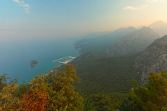 Tunektepe Hill antalya  turkey. Beautiful beach in Antalya in Turkey, top view at dawn Royalty Free Stock Images