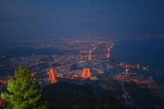 Tunektepe Hill antalya  turkey. Beautiful beach in Antalya in Turkey, top view at night Royalty Free Stock Photos
