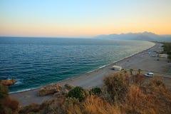 Tunektepe Hill antalya  turkey. Beautiful beach in Antalya in Turkey, top view at sunset Royalty Free Stock Photo