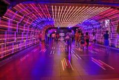 Tunel światła przy Ratchaprasong dla nowy rok świętowań Bangkok 2016 Obrazy Royalty Free