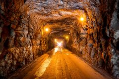 Tunel Eng Duarte Pacheco Madeira. Beautiful view of the old tunnel Eng Duarte Pacheco during a road trip on the island Madeira stock images