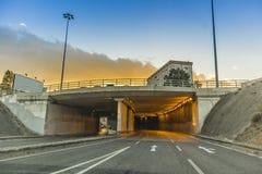 Tunel ingång i staden av Lissabon med solnedgång Arkivfoton