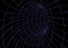 Tunel lub wormhole Cyfrowego 3d wireframe tunel 3D tunelu siatka Sieci cyber technologia nadrealizm T?o abstrakta wektor ilustracja wektor
