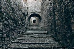 Tunel in medieval castle stock photo