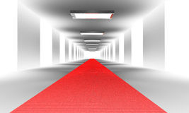 Tunel with red carpet. And lights Royalty Free Stock Images
