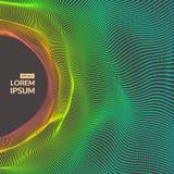 tunel Szyk Z Dynamicznymi cząsteczkami Futurystyczny styl Cyberprzestrzeni siatka również zwrócić corel ilustracji wektora Zdjęcia Stock