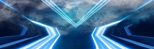 Tunelowy neonowy światło, podziemny przejście Abstrakcjonistyczny tło z liniami i łuną royalty ilustracja