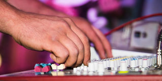The tuner adjusts in the music console.  Royalty Free Stock Photos