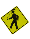 Tunes to go. Traffic sign depicting person walking with portable music player Royalty Free Stock Images