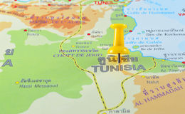 Tunesië in kaart royalty-vrije stock afbeelding